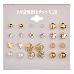 Gold Crystal Heart Pearl Knot Earring Set
